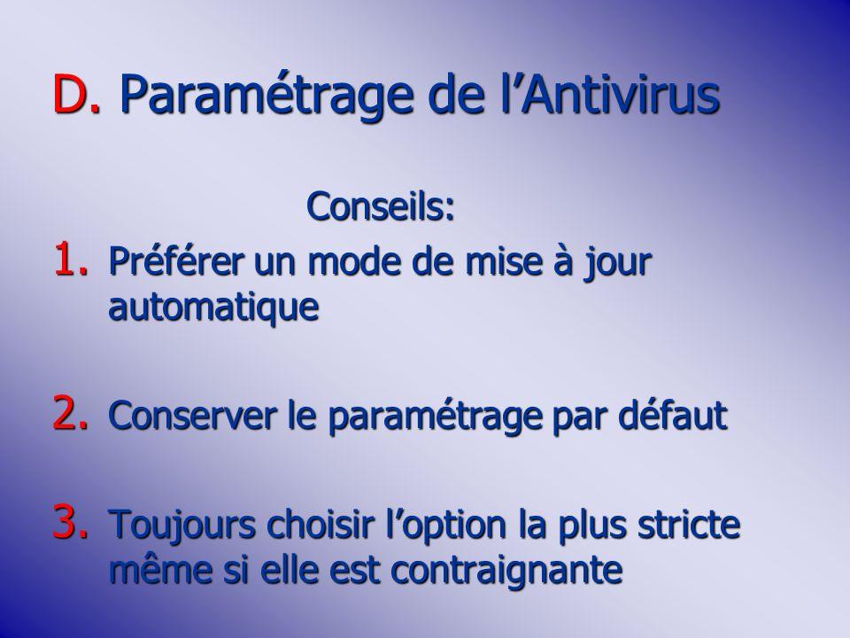 D.Paramétrage de lAntivirus Conseils: 1. Préférer un mode de mise à jour automatique 2.