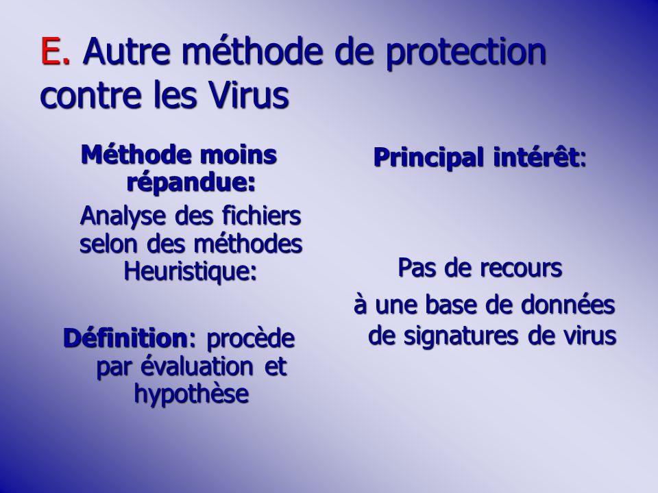 E. Autre méthode de protection contre les Virus Méthode moins répandue: Analyse des fichiers selon des méthodes Heuristique: Définition: procède par é