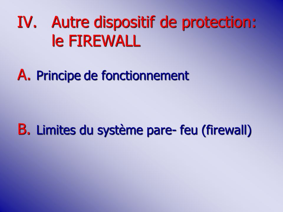 IV.Autre dispositif de protection: le FIREWALL A.Principe de fonctionnement B.