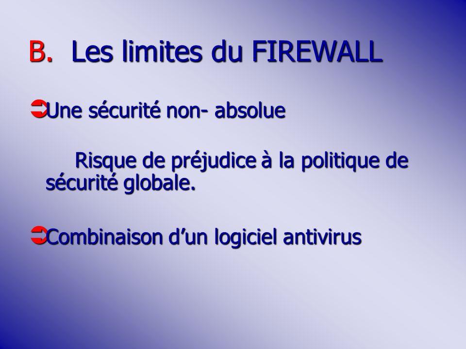B.Les limites du FIREWALL Une sécurité non- absolue Une sécurité non- absolue Risque de préjudice à la politique de sécurité globale.