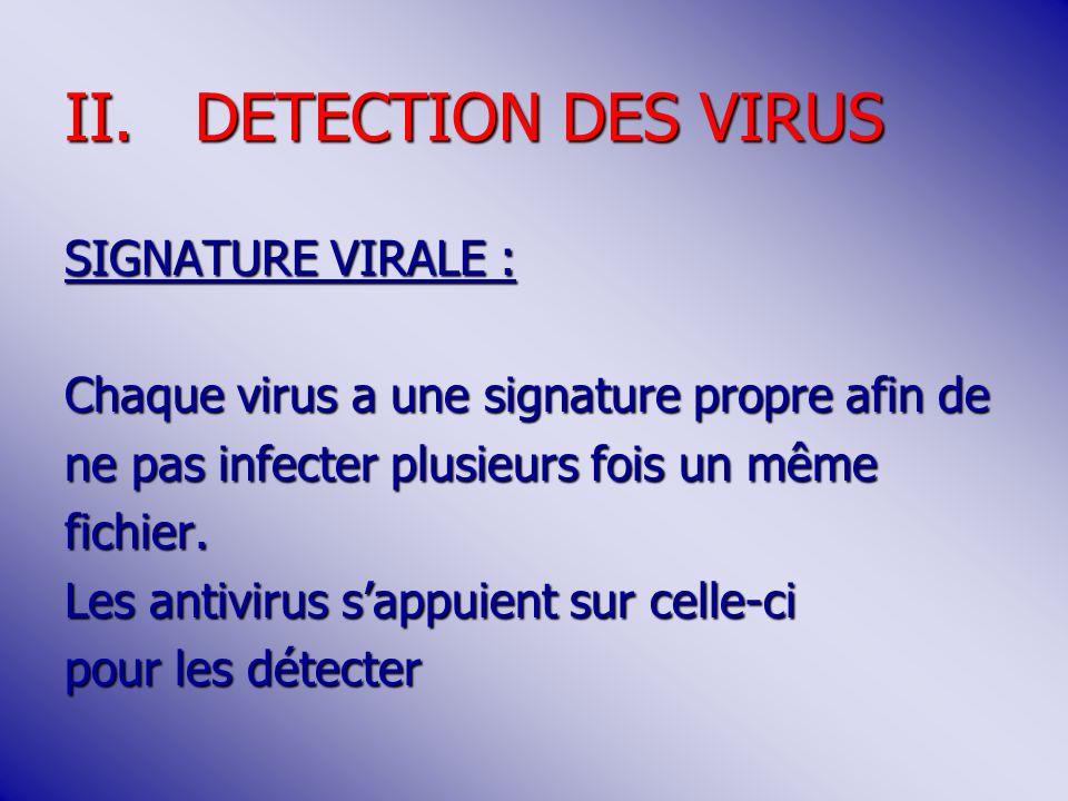 II.DETECTION DES VIRUS SIGNATURE VIRALE : Chaque virus a une signature propre afin de ne pas infecter plusieurs fois un même fichier.