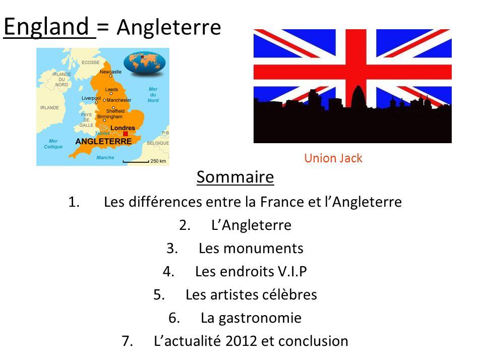 England = Angleterre Sommaire 1. Les différences entre la France et lAngleterre 2.LAngleterre 3.Les monuments 4.Les endroits V.I.P 5.Les artistes célè