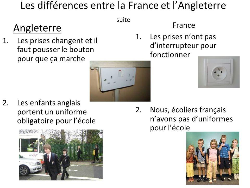 Les différences entre la France et lAngleterre suite Angleterre 1.Les prises changent et il faut pousser le bouton pour que ça marche 2.Les enfants an