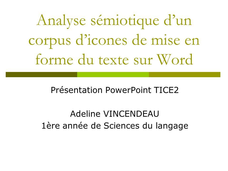 Analyse sémiotique dun corpus dicones de mise en forme du texte sur Word Présentation PowerPoint TICE2 Adeline VINCENDEAU 1ère année de Sciences du la
