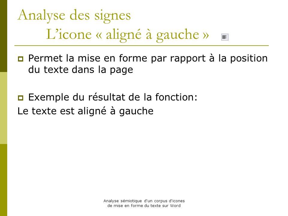 Analyse sémiotique d'un corpus d'icones de mise en forme du texte sur Word Analyse des signes Licone « aligné à gauche » Permet la mise en forme par r