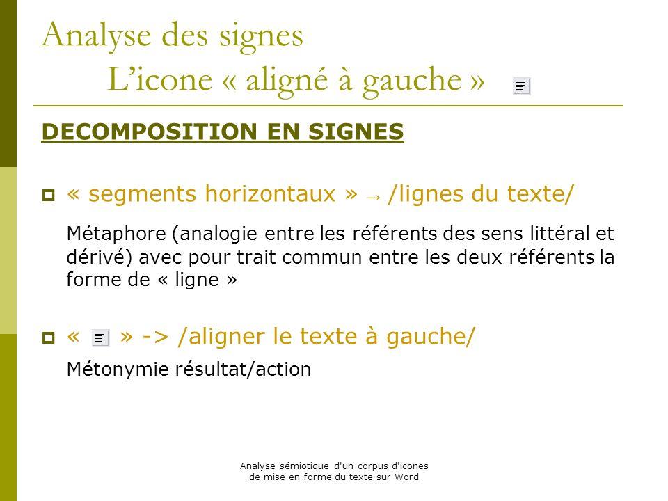 Analyse sémiotique d'un corpus d'icones de mise en forme du texte sur Word Analyse des signes Licone « aligné à gauche » DECOMPOSITION EN SIGNES « seg