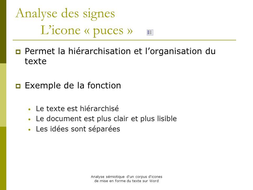 Analyse sémiotique d'un corpus d'icones de mise en forme du texte sur Word Analyse des signes Licone « puces » Permet la hiérarchisation et lorganisat