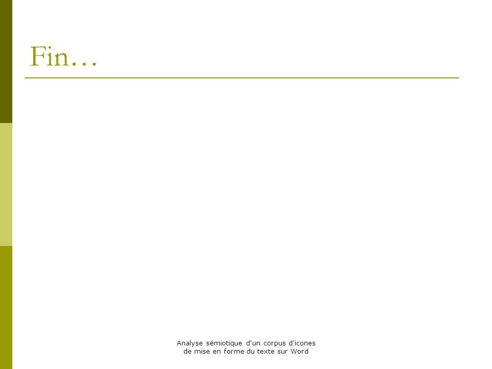Analyse sémiotique d'un corpus d'icones de mise en forme du texte sur Word Fin…