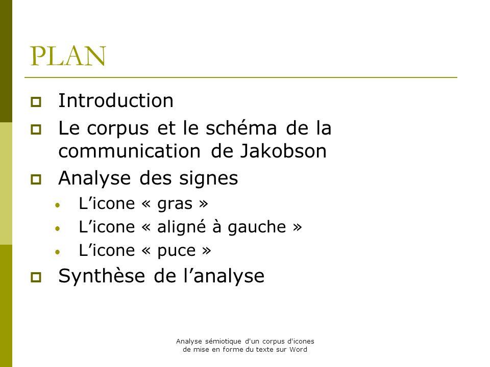 Analyse sémiotique d'un corpus d'icones de mise en forme du texte sur Word PLAN Introduction Le corpus et le schéma de la communication de Jakobson An