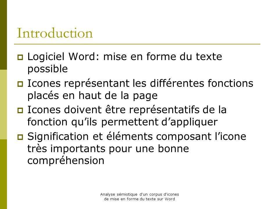 Analyse sémiotique d'un corpus d'icones de mise en forme du texte sur Word Introduction Logiciel Word: mise en forme du texte possible Icones représen