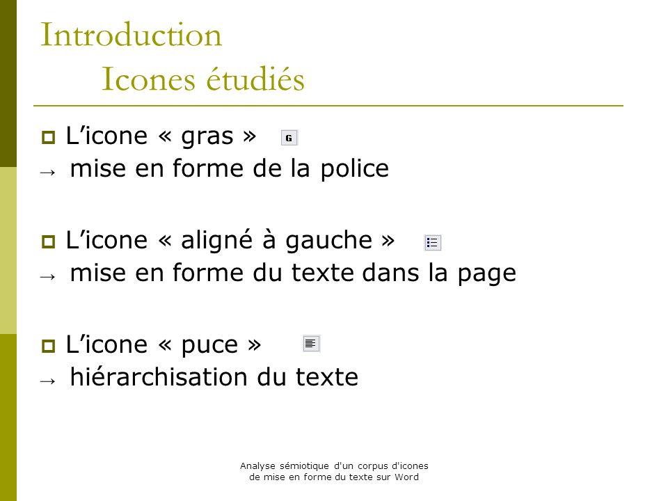 Analyse sémiotique d'un corpus d'icones de mise en forme du texte sur Word Introduction Icones étudiés Licone « gras » mise en forme de la police Lico