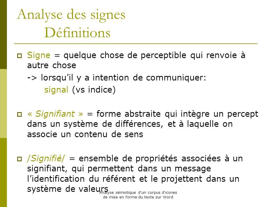 Analyse sémiotique d'un corpus d'icones de mise en forme du texte sur Word Analyse des signes Définitions Signe = quelque chose de perceptible qui ren
