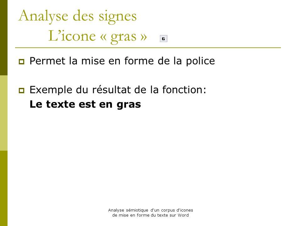 Analyse sémiotique d'un corpus d'icones de mise en forme du texte sur Word Analyse des signes Licone « gras » Permet la mise en forme de la police Exe