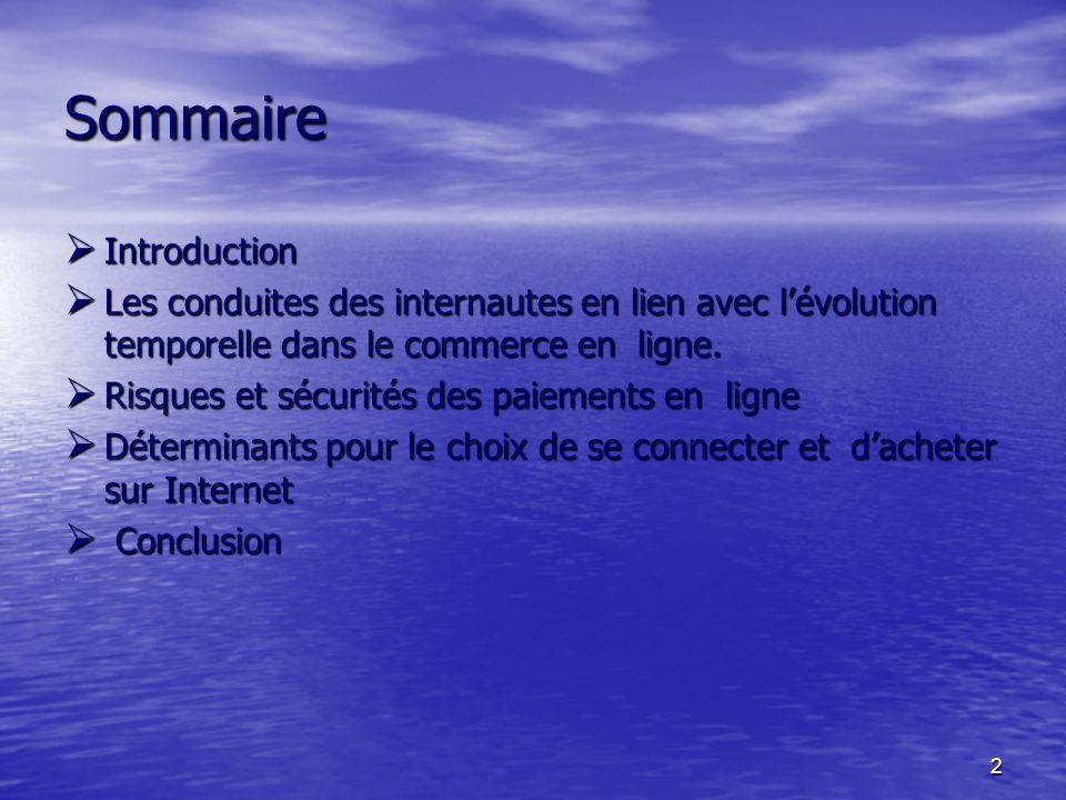 2 Sommaire Introduction Introduction Les conduites des internautes en lien avec lévolution temporelle dans le commerce en ligne.