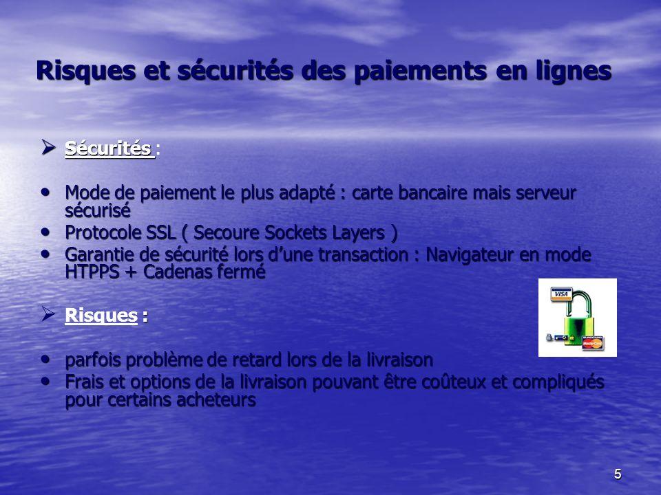 5 Risques et sécurités des paiements en lignes Sécurités Sécurités : Mode de paiement le plus adapté : carte bancaire mais serveur sécurisé Mode de paiement le plus adapté : carte bancaire mais serveur sécurisé Protocole SSL ( Secoure Sockets Layers ) Protocole SSL ( Secoure Sockets Layers ) Garantie de sécurité lors dune transaction : Navigateur en mode HTPPS + Cadenas fermé Garantie de sécurité lors dune transaction : Navigateur en mode HTPPS + Cadenas fermé : Risques : parfois problème de retard lors de la livraison parfois problème de retard lors de la livraison Frais et options de la livraison pouvant être coûteux et compliqués pour certains acheteurs Frais et options de la livraison pouvant être coûteux et compliqués pour certains acheteurs