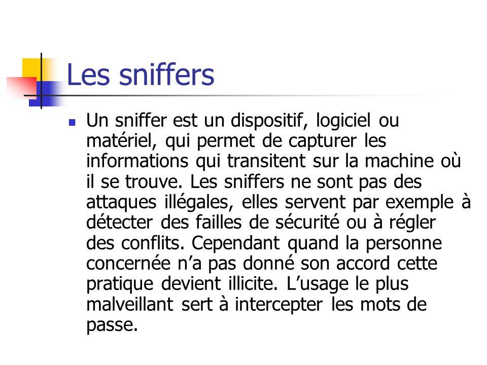 Les sniffers Un sniffer est un dispositif, logiciel ou matériel, qui permet de capturer les informations qui transitent sur la machine où il se trouve