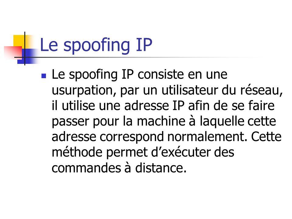 Le spoofing IP Le spoofing IP consiste en une usurpation, par un utilisateur du réseau, il utilise une adresse IP afin de se faire passer pour la mach
