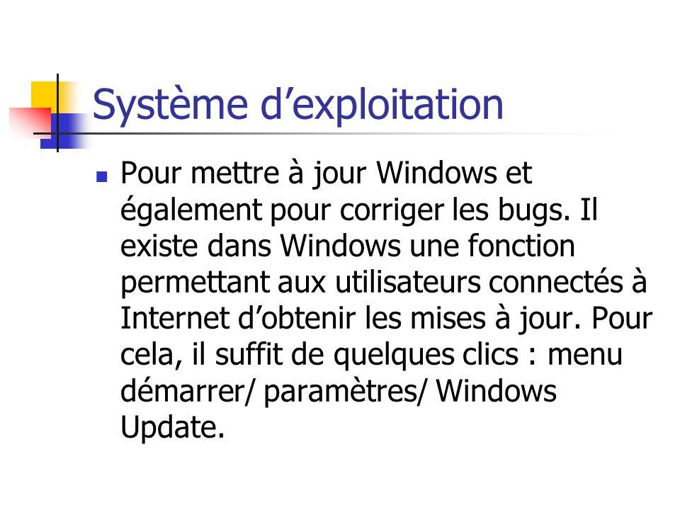 Système dexploitation Pour mettre à jour Windows et également pour corriger les bugs. Il existe dans Windows une fonction permettant aux utilisateurs