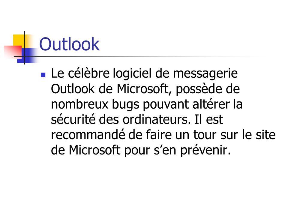 Outlook Le célèbre logiciel de messagerie Outlook de Microsoft, possède de nombreux bugs pouvant altérer la sécurité des ordinateurs. Il est recommand