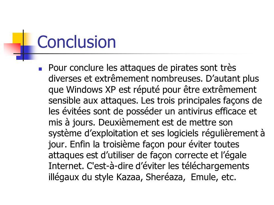 Conclusion Pour conclure les attaques de pirates sont très diverses et extrêmement nombreuses. Dautant plus que Windows XP est réputé pour être extrêm