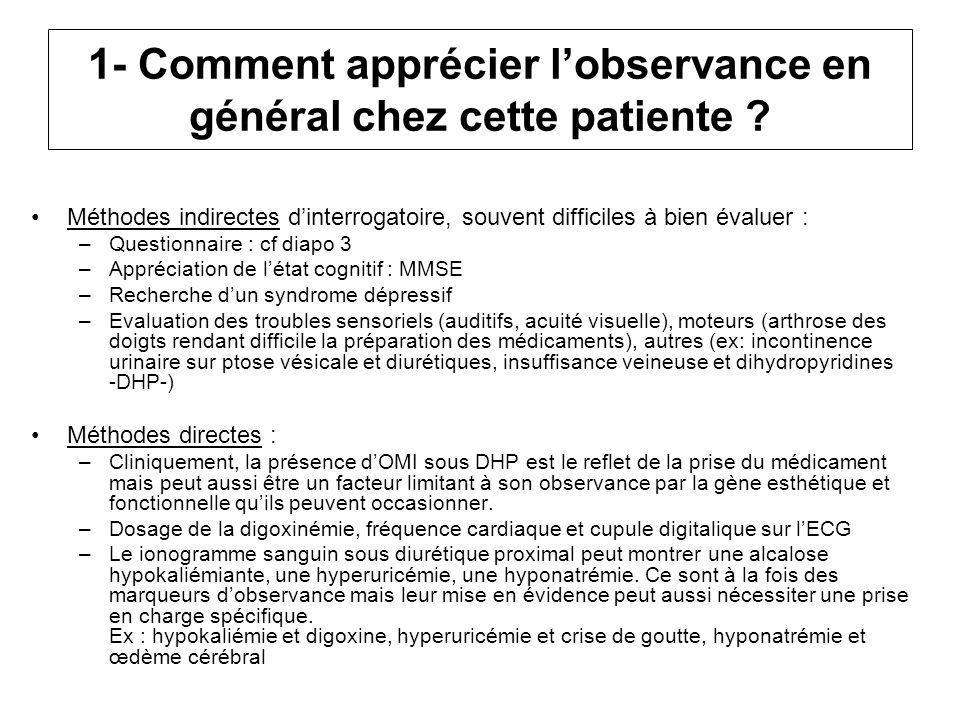 1- Comment apprécier lobservance en général chez cette patiente ? Méthodes indirectes dinterrogatoire, souvent difficiles à bien évaluer : –Questionna