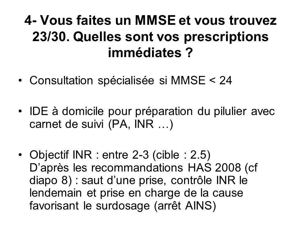 4- Vous faites un MMSE et vous trouvez 23/30. Quelles sont vos prescriptions immédiates ? Consultation spécialisée si MMSE < 24 IDE à domicile pour pr