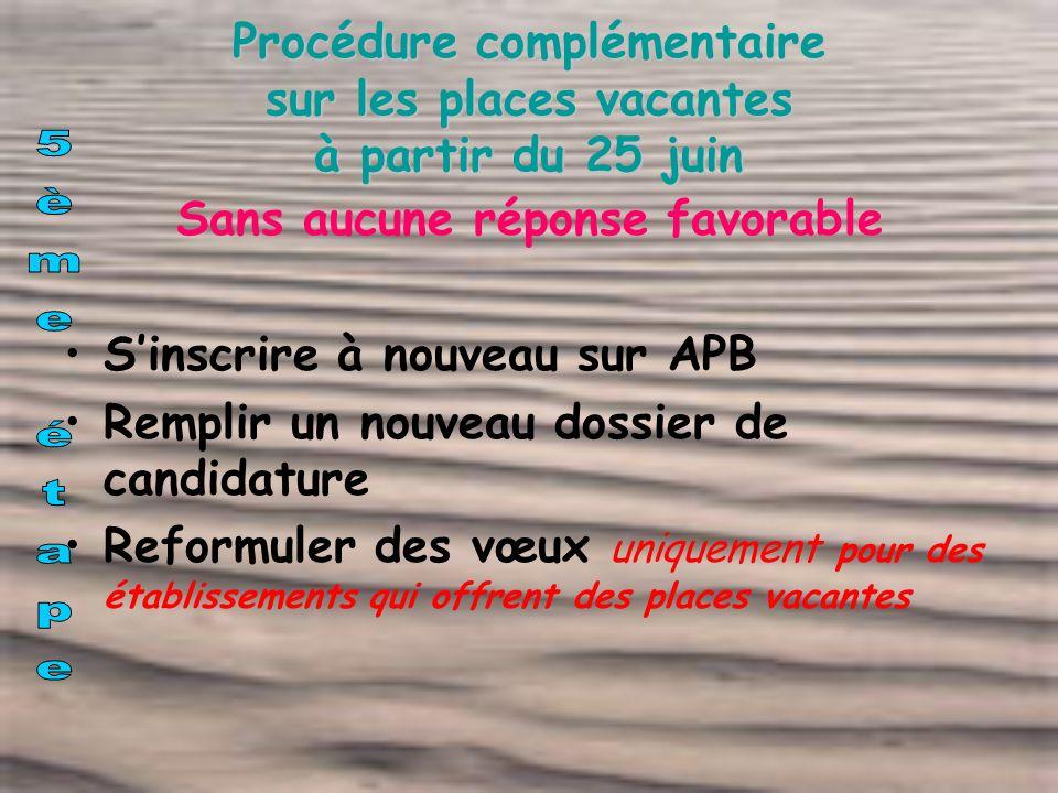 Procédure complémentaire sur les places vacantes à partir du 25 juin Sans aucune réponse favorable Sinscrire à nouveau sur APB Remplir un nouveau doss