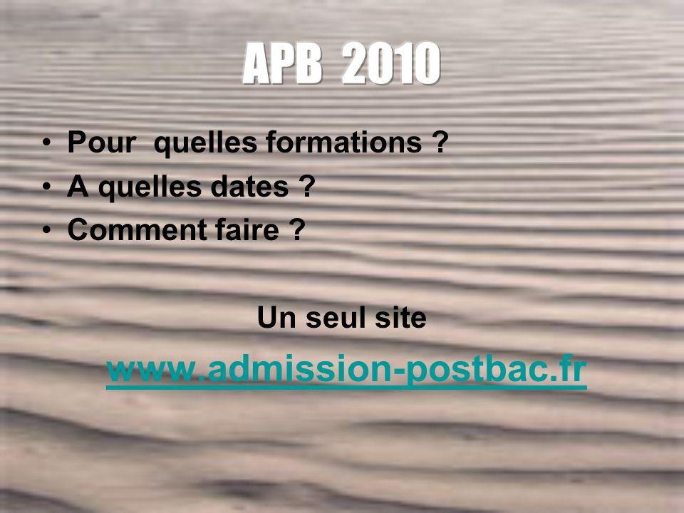 Pour quelles formations A quelles dates Comment faire Un seul site www.admission-postbac.fr