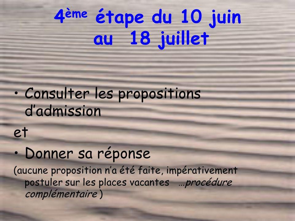 4 ème étape du 10 juin au 18 juillet Consulter les propositions dadmission et Donner sa réponse (aucune proposition na été faite, impérativement postuler sur les places vacantes …procédure complémentaire )