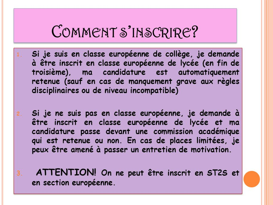 C OMMENT S INSCRIRE . 1.