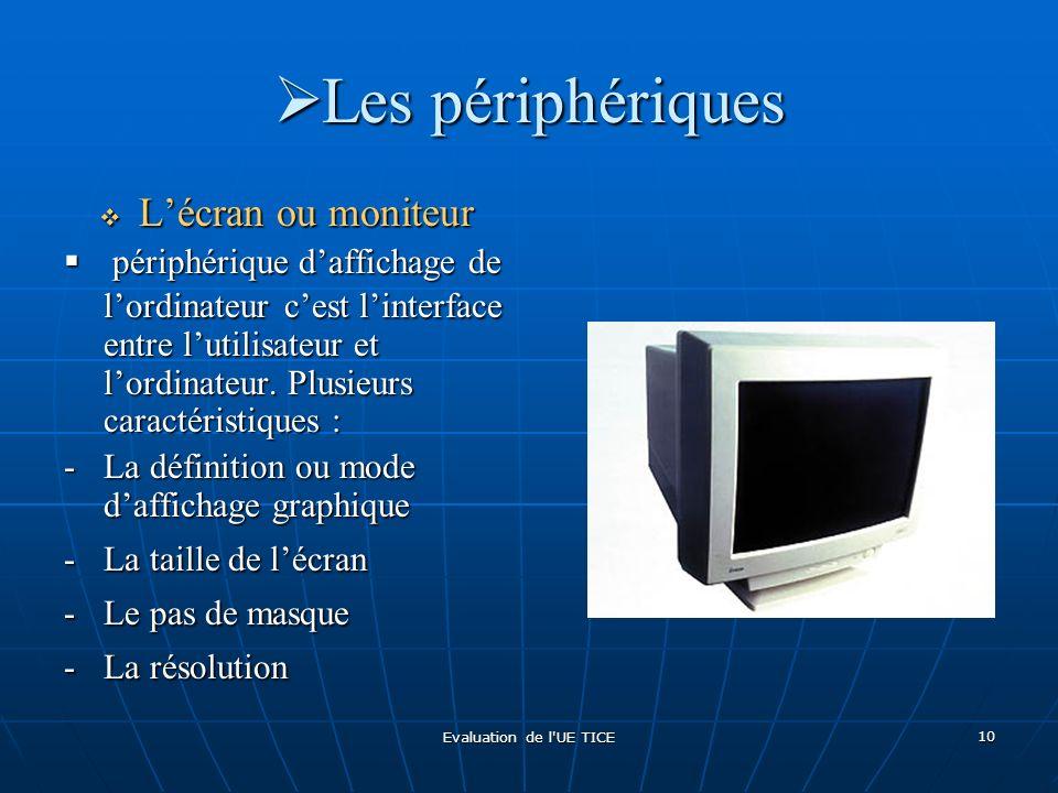 Evaluation de l'UE TICE 10 Les périphériques Les périphériques Lécran ou moniteur Lécran ou moniteur périphérique daffichage de lordinateur cest linte