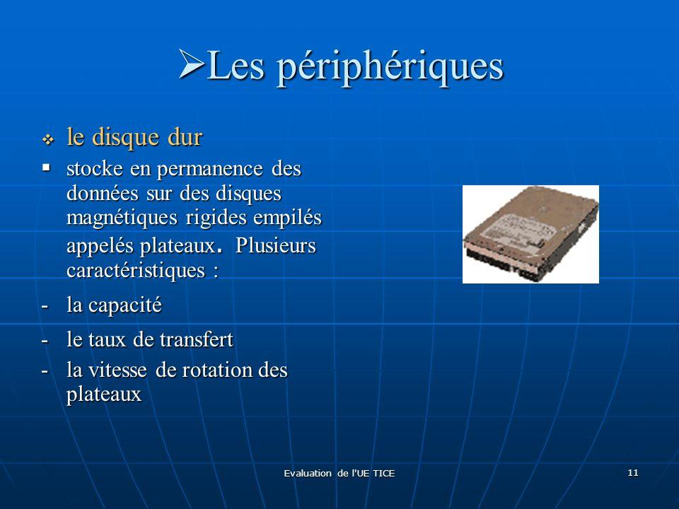 Evaluation de l'UE TICE 11 Les périphériques Les périphériques le disque dur le disque dur stocke en permanence des données sur des disques magnétique