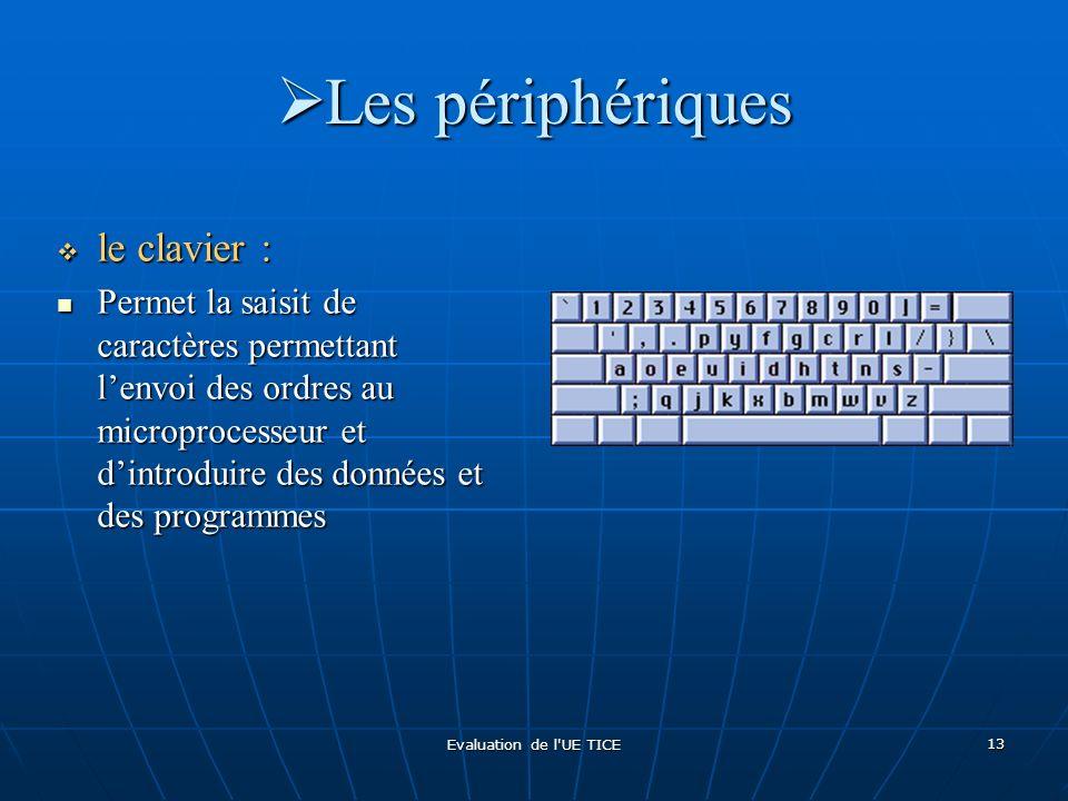 Evaluation de l'UE TICE 13 Les périphériques Les périphériques le clavier : le clavier : Permet la saisit de caractères permettant lenvoi des ordres a