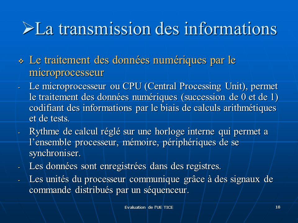 Evaluation de l'UE TICE 18 La transmission des informations La transmission des informations Le traitement des données numériques par le microprocesse