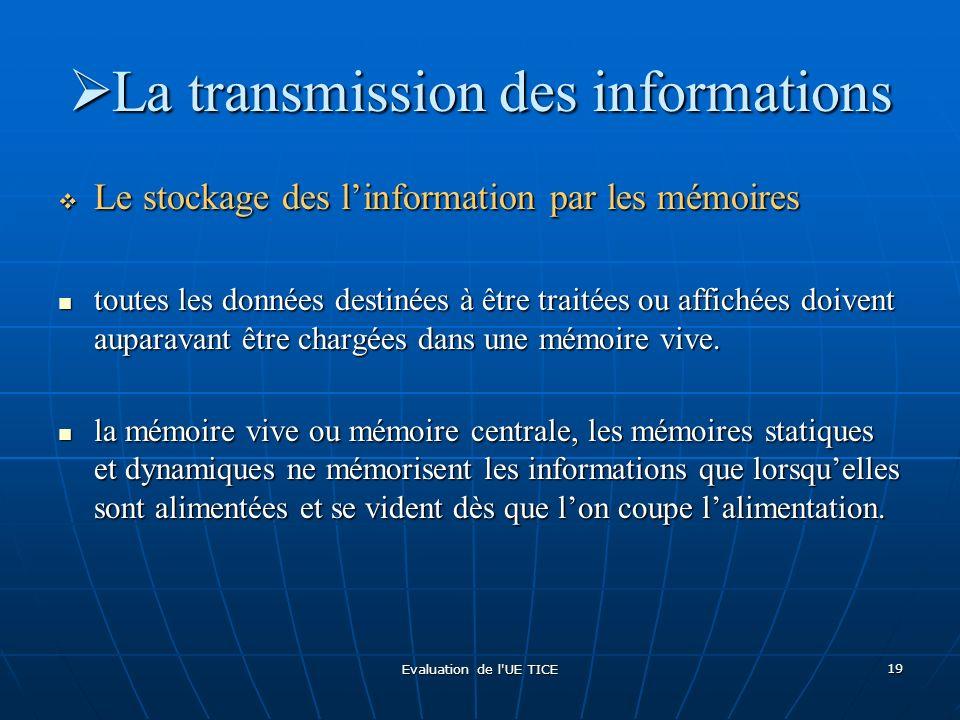 Evaluation de l'UE TICE 19 La transmission des informations La transmission des informations Le stockage des linformation par les mémoires Le stockage