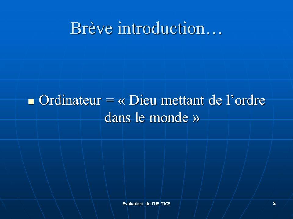 Evaluation de l'UE TICE 2 Brève introduction… Ordinateur = « Dieu mettant de lordre dans le monde » Ordinateur = « Dieu mettant de lordre dans le mond