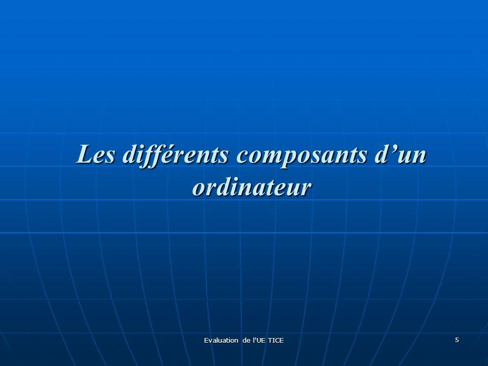 Evaluation de l'UE TICE 5 Les différents composants dun ordinateur