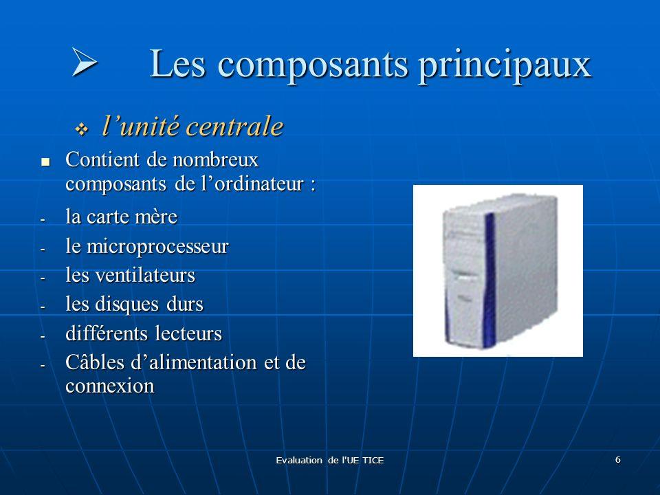 Evaluation de l UE TICE 7 Les composants principaux Les composants principaux La carte mère La carte mère circuit imprimé accueillant tous les périphériques utiles au bon fonctionnement : circuit imprimé accueillant tous les périphériques utiles au bon fonctionnement : - Processeur - Disque dur - Carte son