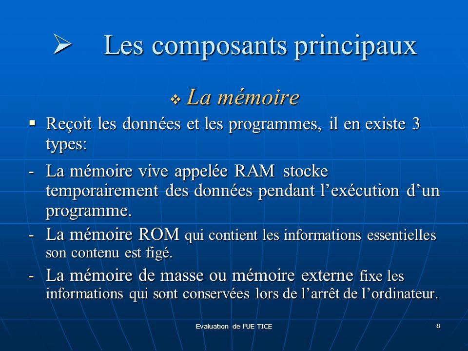 Evaluation de l'UE TICE 8 Les composants principaux Les composants principaux La mémoire La mémoire Reçoit les données et les programmes, il en existe