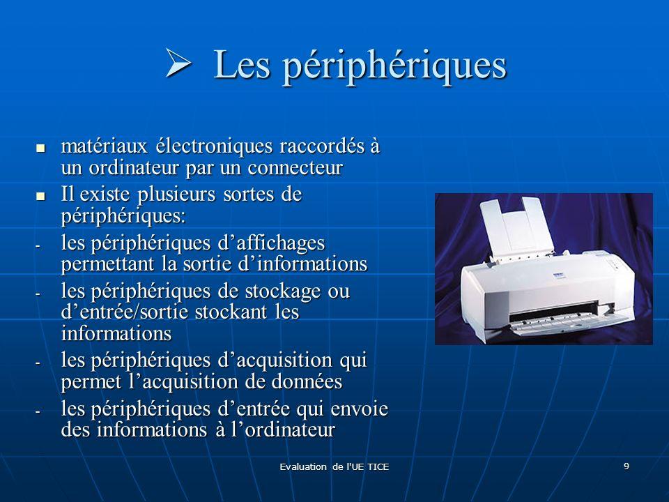Evaluation de l'UE TICE 9 Les périphériques Les périphériques matériaux électroniques raccordés à un ordinateur par un connecteur matériaux électroniq