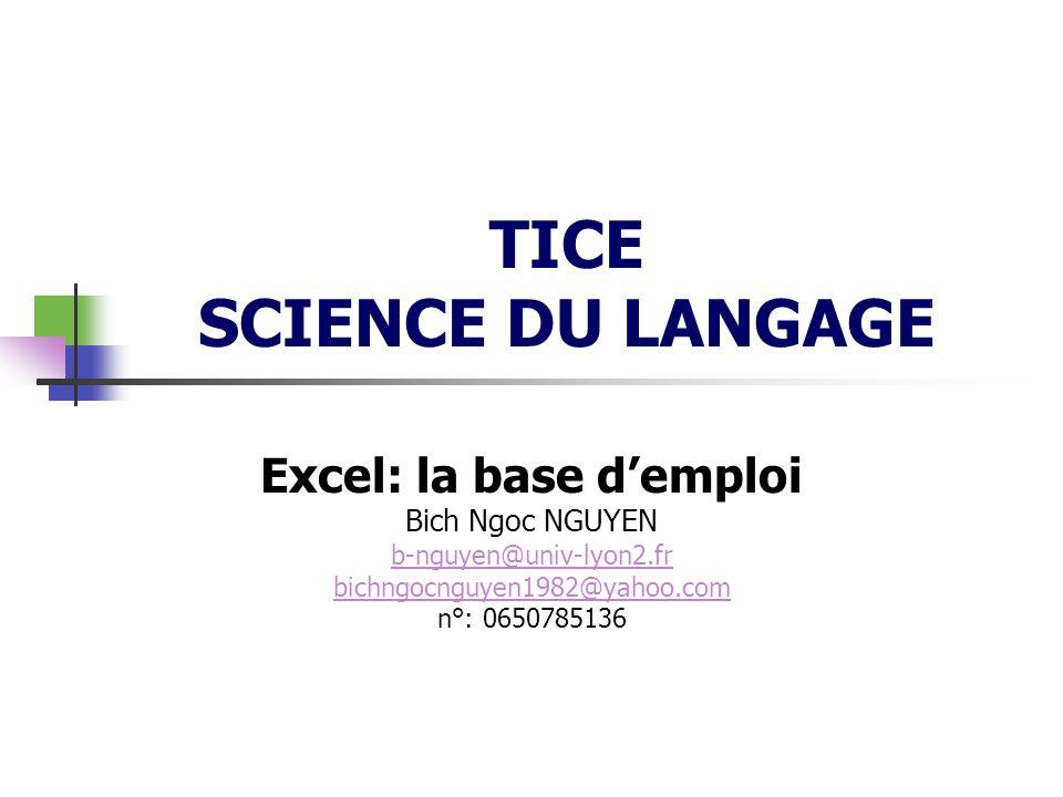 TICE SCIENCE DU LANGAGE Excel: la base demploi Bich Ngoc NGUYEN b-nguyen@univ-lyon2.fr bichngocnguyen1982@yahoo.com n°: 0650785136