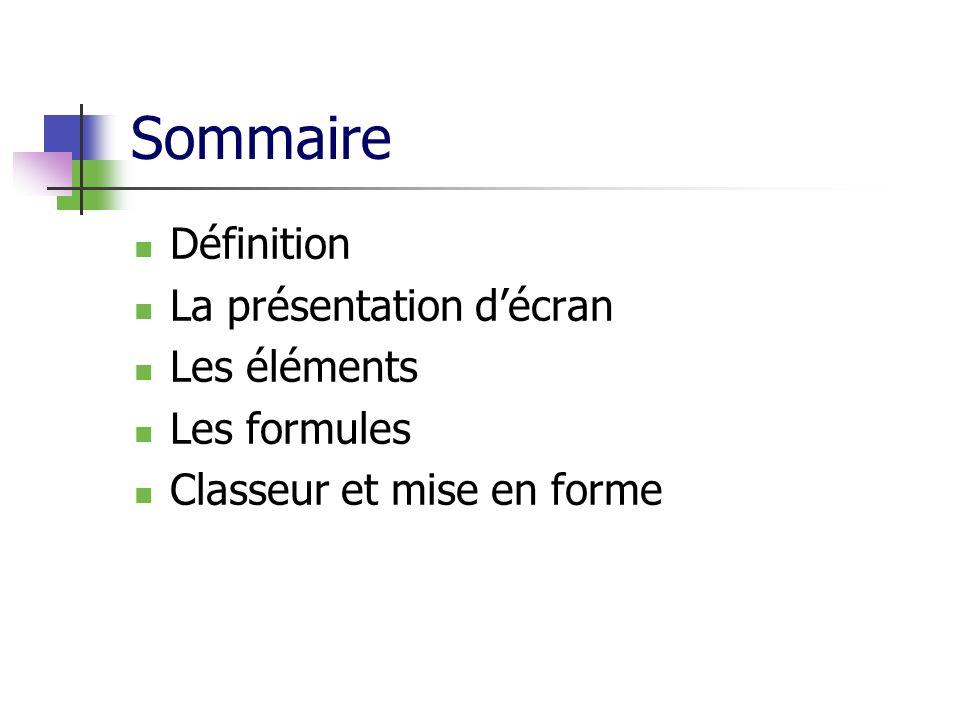 Sommaire Définition La présentation décran Les éléments Les formules Classeur et mise en forme