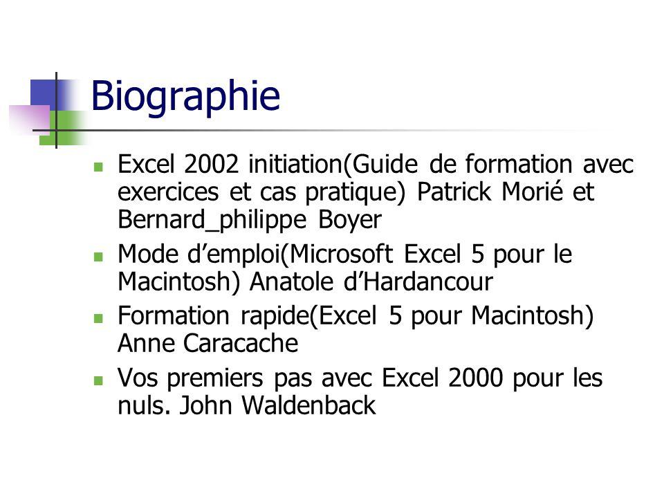 Biographie Excel 2002 initiation(Guide de formation avec exercices et cas pratique) Patrick Morié et Bernard_philippe Boyer Mode demploi(Microsoft Excel 5 pour le Macintosh) Anatole dHardancour Formation rapide(Excel 5 pour Macintosh) Anne Caracache Vos premiers pas avec Excel 2000 pour les nuls.