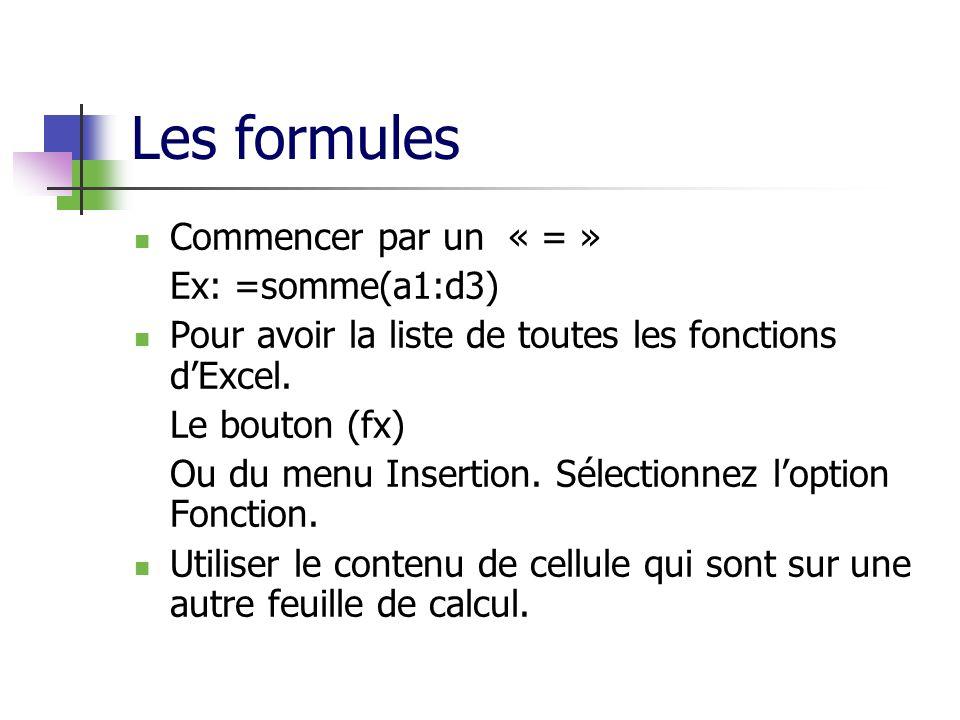 Les formules Commencer par un « = » Ex: =somme(a1:d3) Pour avoir la liste de toutes les fonctions dExcel.
