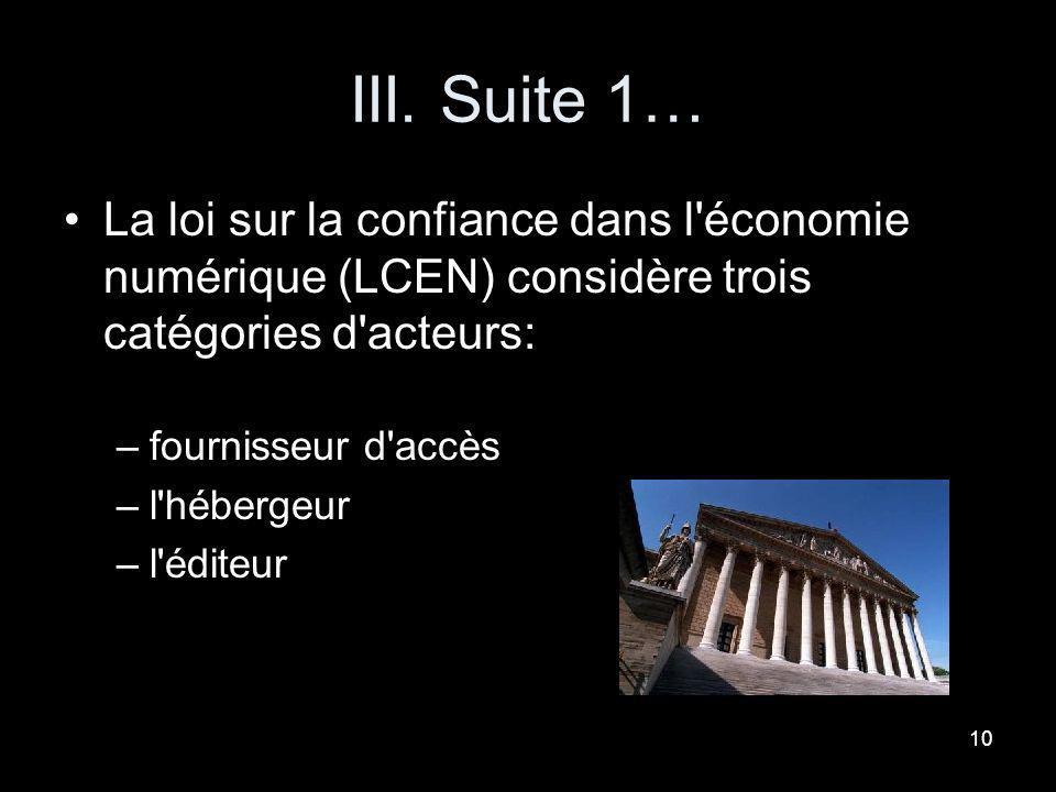 9 III. La législation des blogs loi du 21 juin 2005, dite loi pour la confiance dans l'économie numérique –