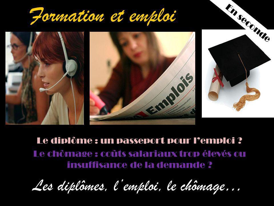 Formation et emploi Les diplômes, lemploi, le chômage… Le diplôme : un passeport pour lemploi .