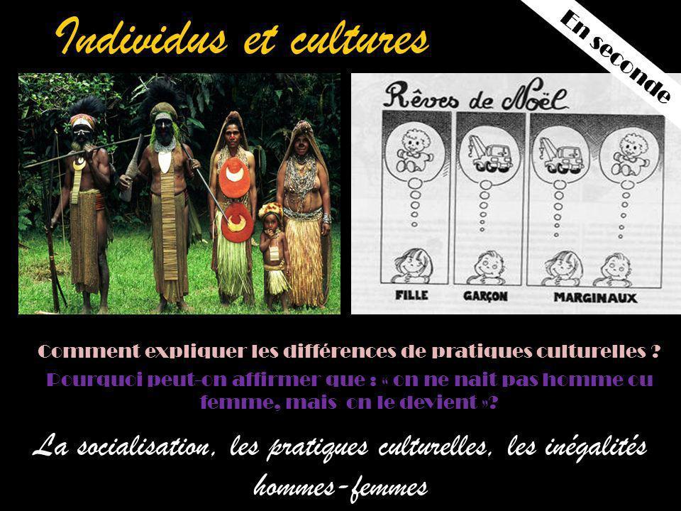 Individus et cultures La socialisation, les pratiques culturelles, les inégalités hommes-femmes Comment expliquer les différences de pratiques culturelles .