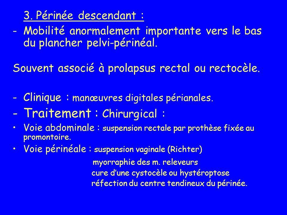 3. Périnée descendant : -Mobilité anormalement importante vers le bas du plancher pelvi-périnéal. Souvent associé à prolapsus rectal ou rectocèle. -Cl