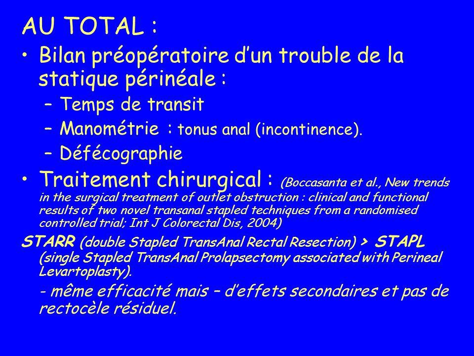 AU TOTAL : Bilan préopératoire dun trouble de la statique périnéale : –Temps de transit –Manométrie : tonus anal (incontinence). –Défécographie Traite