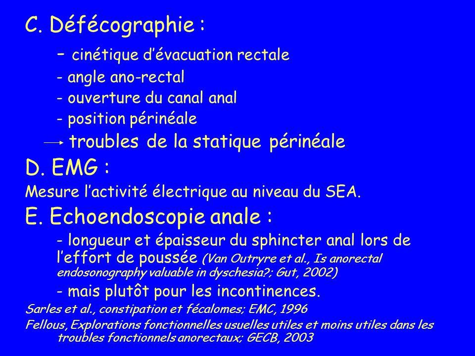 C. Défécographie : - cinétique dévacuation rectale - angle ano-rectal - ouverture du canal anal - position périnéale troubles de la statique périnéale